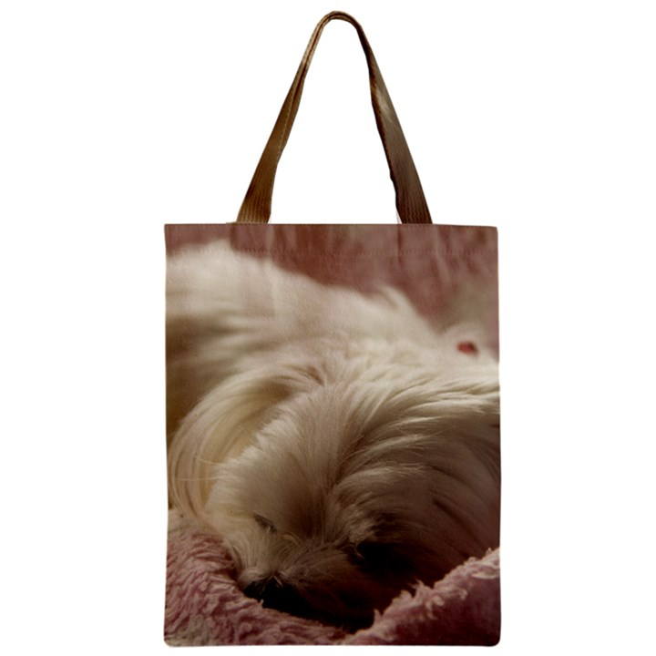 Maltese Sleeping Zipper Classic Tote Bag
