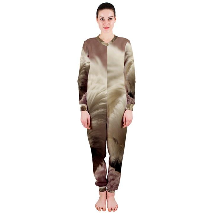 Maltese Sleeping OnePiece Jumpsuit (Ladies)