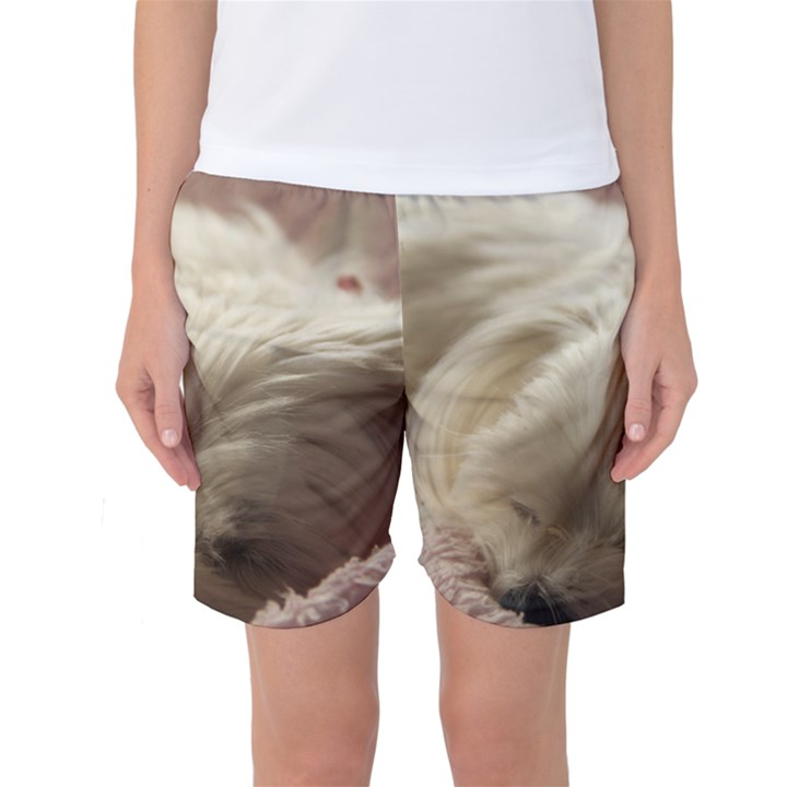 Maltese Sleeping Women s Basketball Shorts