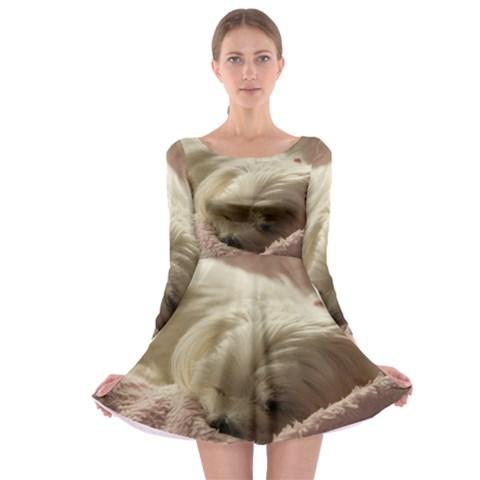 Maltese Sleeping Long Sleeve Skater Dress