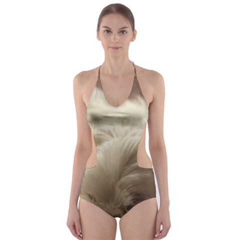 Maltese Sleeping Cut-Out One Piece Swimsuit