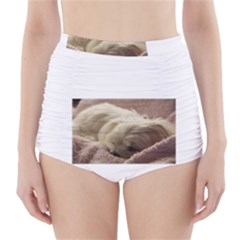 Maltese Sleeping High-Waisted Bikini Bottoms