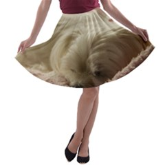 Maltese Sleeping A-line Skater Skirt