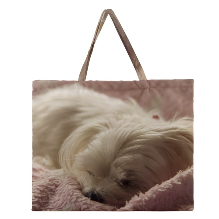 Maltese Sleeping Zipper Large Tote Bag
