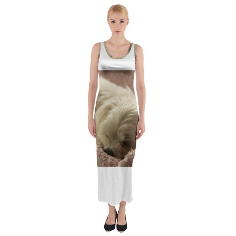 Maltese Sleeping Fitted Maxi Dress