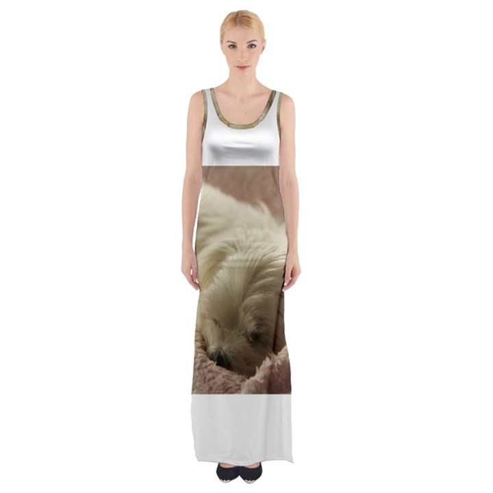Maltese Sleeping Maxi Thigh Split Dress
