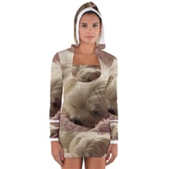 Maltese Sleeping Women s Long Sleeve Hooded T-shirt