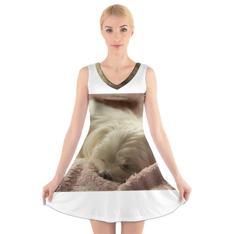 Maltese Sleeping V-Neck Sleeveless Skater Dress