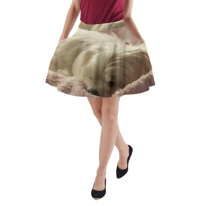 Maltese Sleeping A-Line Pocket Skirt
