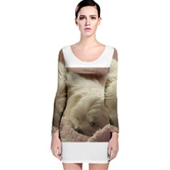 Maltese Sleeping Long Sleeve Velvet Bodycon Dress
