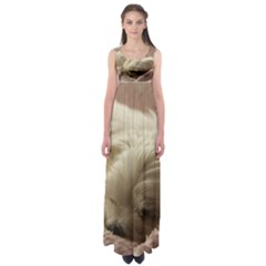 Maltese Sleeping Empire Waist Maxi Dress