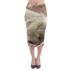 Maltese Sleeping Midi Pencil Skirt