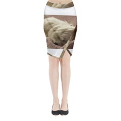 Maltese Sleeping Midi Wrap Pencil Skirt