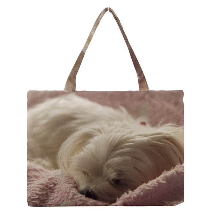 Maltese Sleeping Medium Zipper Tote Bag