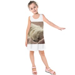Maltese Sleeping Kids  Sleeveless Dress