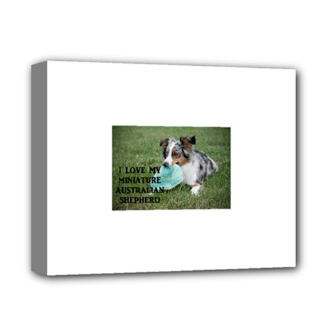 Blue Merle Miniature American Shepherd Love W Pic Deluxe Canvas 14  x 11