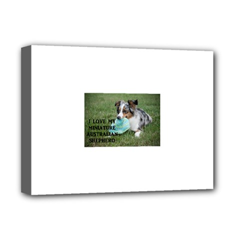 Blue Merle Miniature American Shepherd Love W Pic Deluxe Canvas 16  x 12