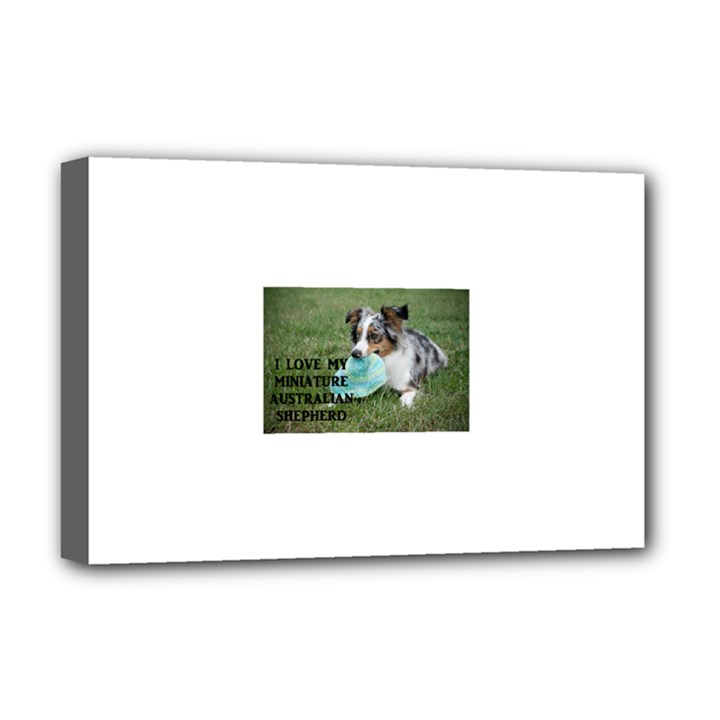 Blue Merle Miniature American Shepherd Love W Pic Deluxe Canvas 18  x 12