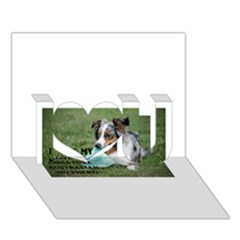Blue Merle Miniature American Shepherd Love W Pic I Love You 3D Greeting Card (7x5)