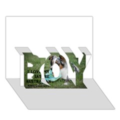 Blue Merle Miniature American Shepherd Love W Pic BOY 3D Greeting Card (7x5)