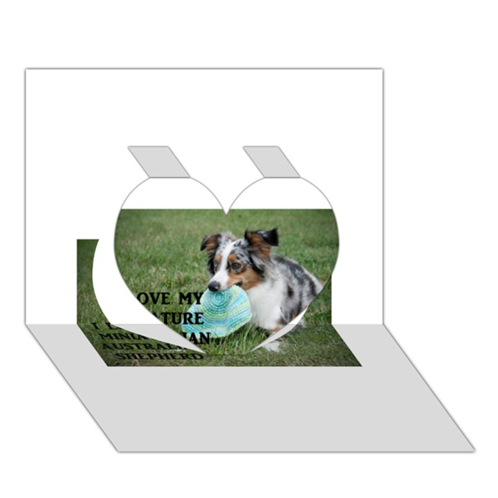 Blue Merle Miniature American Shepherd Love W Pic Heart 3D Greeting Card (7x5)