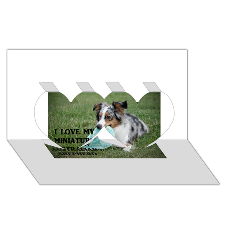 Blue Merle Miniature American Shepherd Love W Pic Twin Hearts 3D Greeting Card (8x4)