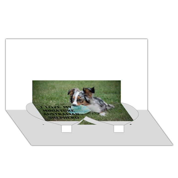 Blue Merle Miniature American Shepherd Love W Pic Twin Heart Bottom 3D Greeting Card (8x4)