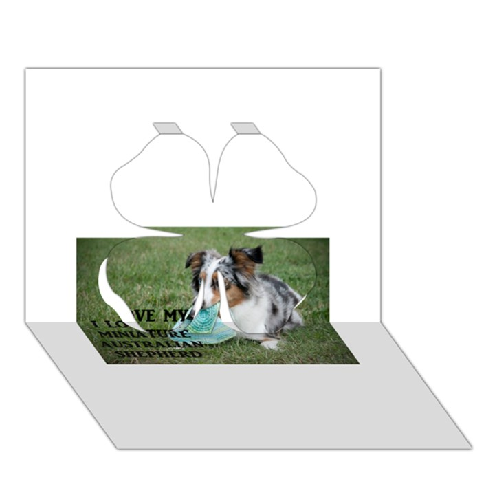 Blue Merle Miniature American Shepherd Love W Pic Clover 3D Greeting Card (7x5)