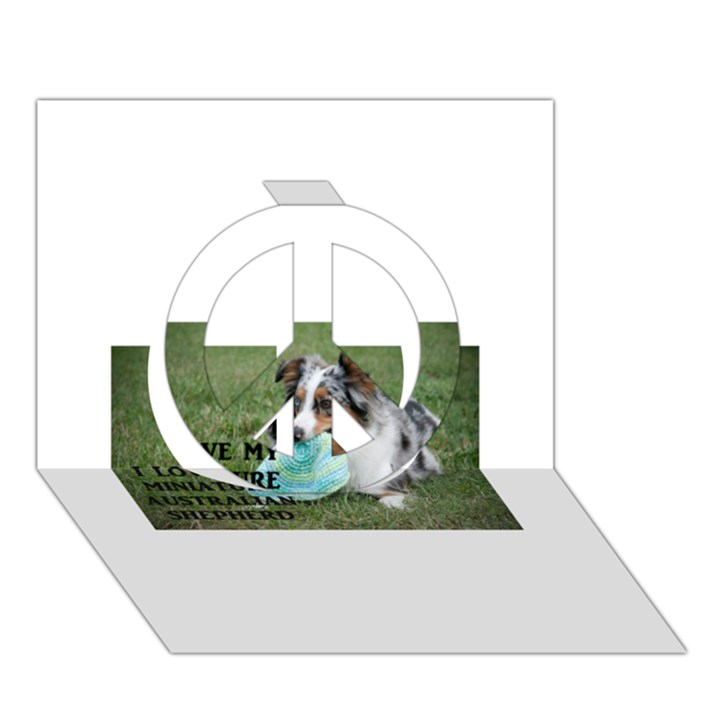 Blue Merle Miniature American Shepherd Love W Pic Peace Sign 3D Greeting Card (7x5)