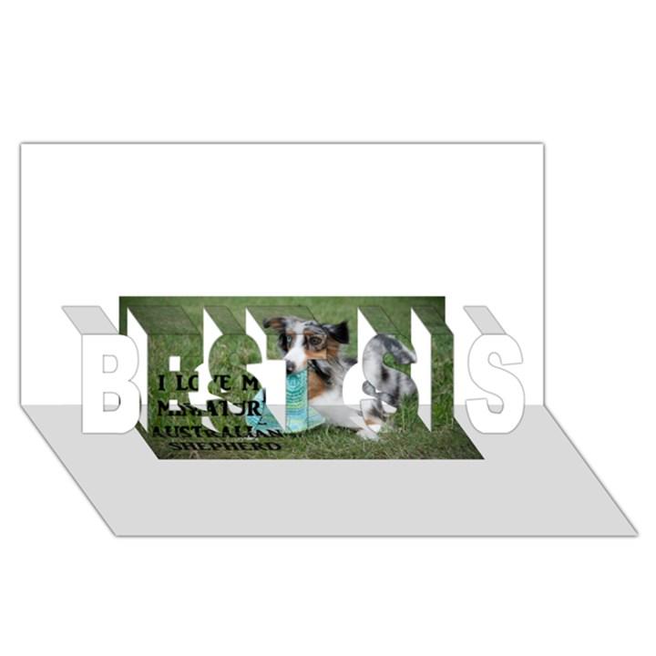 Blue Merle Miniature American Shepherd Love W Pic BEST SIS 3D Greeting Card (8x4)