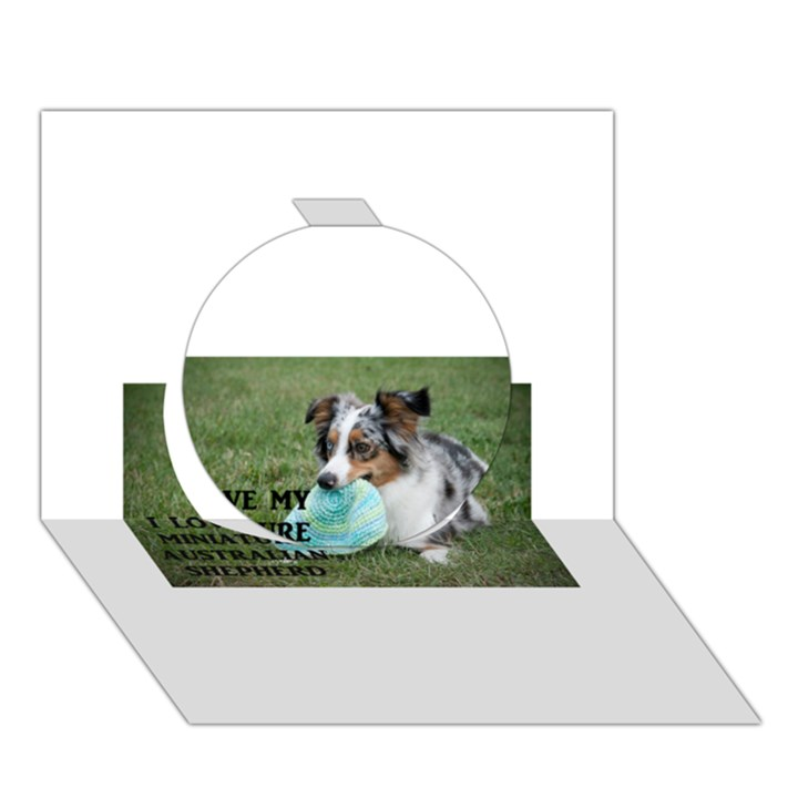 Blue Merle Miniature American Shepherd Love W Pic Circle 3D Greeting Card (7x5)