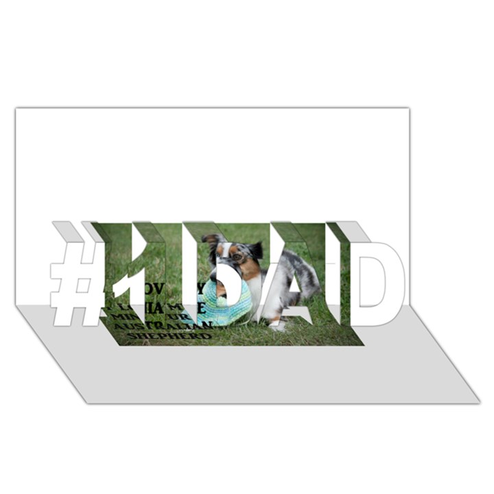 Blue Merle Miniature American Shepherd Love W Pic #1 DAD 3D Greeting Card (8x4)