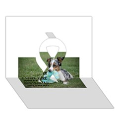 Blue Merle Miniature American Shepherd Love W Pic Ribbon 3D Greeting Card (7x5)