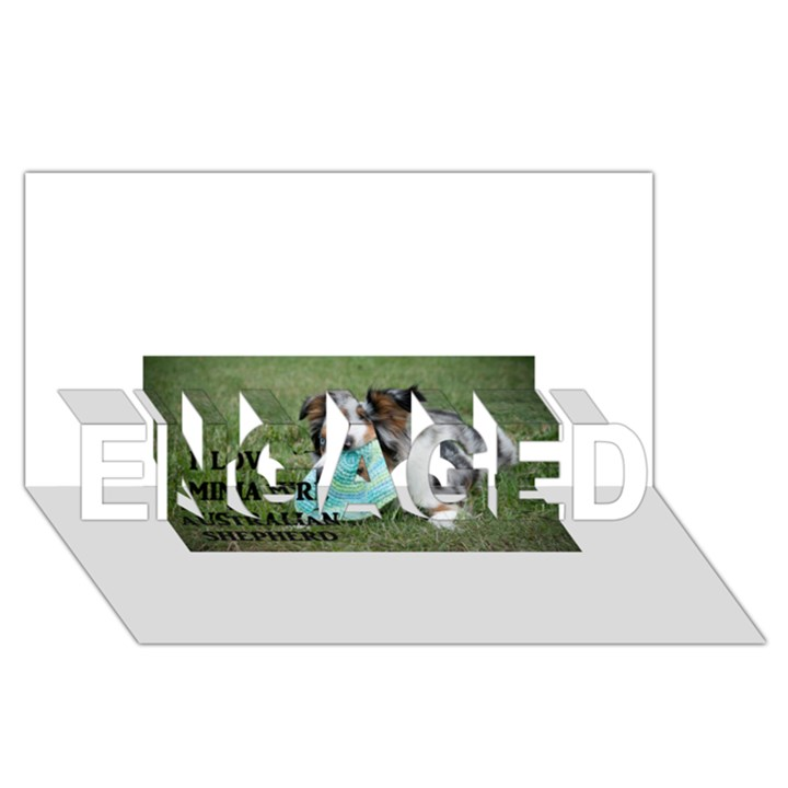 Blue Merle Miniature American Shepherd Love W Pic ENGAGED 3D Greeting Card (8x4)