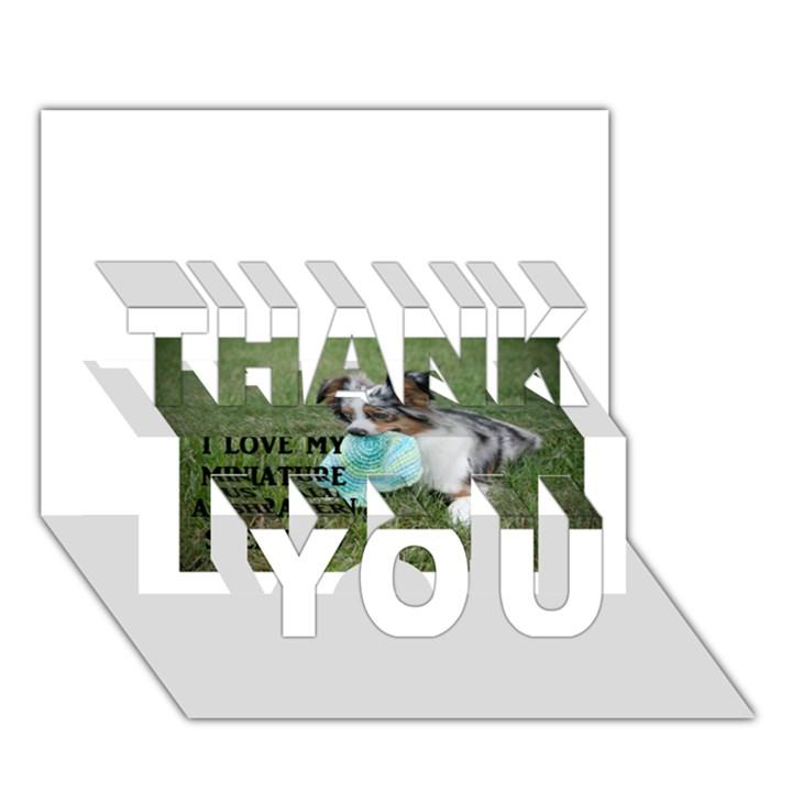 Blue Merle Miniature American Shepherd Love W Pic THANK YOU 3D Greeting Card (7x5)