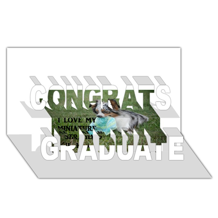 Blue Merle Miniature American Shepherd Love W Pic Congrats Graduate 3D Greeting Card (8x4)