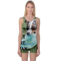 Blue Merle Miniature American Shepherd Love W Pic One Piece Boyleg Swimsuit