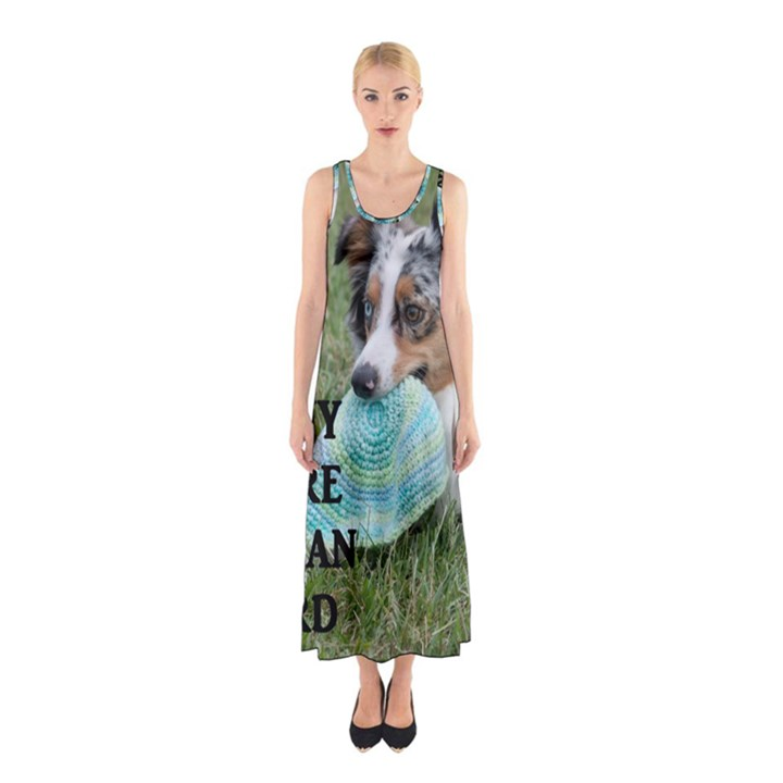 Blue Merle Miniature American Shepherd Love W Pic Sleeveless Maxi Dress