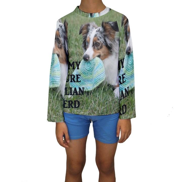 Blue Merle Miniature American Shepherd Love W Pic Kids  Long Sleeve Swimwear