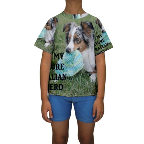 Blue Merle Miniature American Shepherd Love W Pic Kids  Short Sleeve Swimwear
