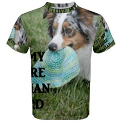 Blue Merle Miniature American Shepherd Love W Pic Men s Cotton Tee