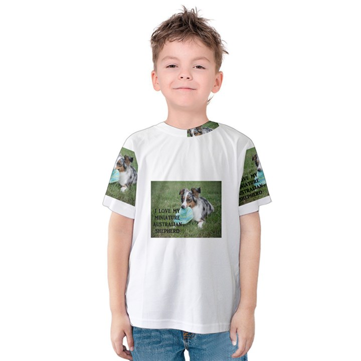Blue Merle Miniature American Shepherd Love W Pic Kids  Cotton Tee