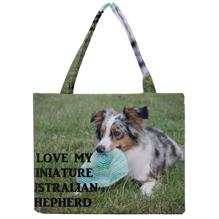 Blue Merle Miniature American Shepherd Love W Pic Mini Tote Bag