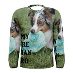Blue Merle Miniature American Shepherd Love W Pic Men s Long Sleeve Tee