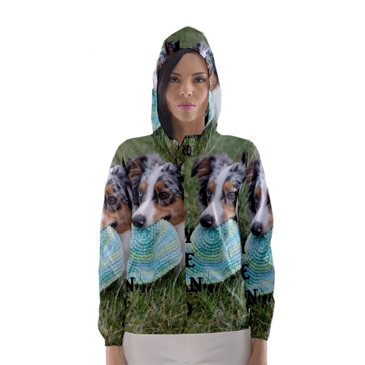 Blue Merle Miniature American Shepherd Love W Pic Hooded Wind Breaker (Women)