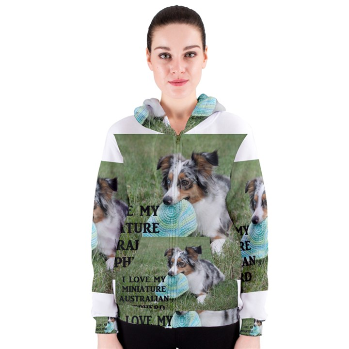 Blue Merle Miniature American Shepherd Love W Pic Women s Zipper Hoodie