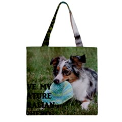 Blue Merle Miniature American Shepherd Love W Pic Zipper Grocery Tote Bag