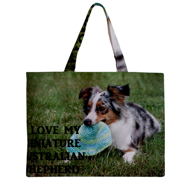 Blue Merle Miniature American Shepherd Love W Pic Zipper Mini Tote Bag