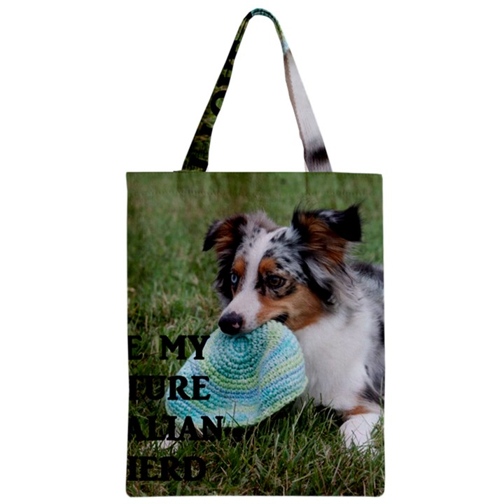 Blue Merle Miniature American Shepherd Love W Pic Zipper Classic Tote Bag