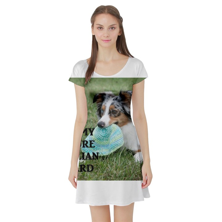 Blue Merle Miniature American Shepherd Love W Pic Short Sleeve Skater Dress